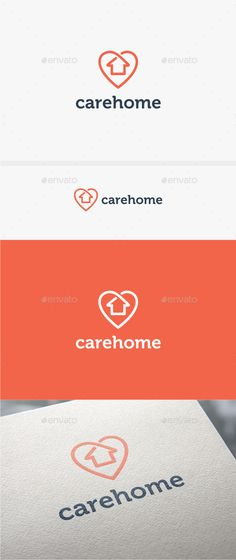 Care Home - Logo Template (AI Illustrator, Resizable, CS, build, building, care, clean, company, construction, fresh brand, heart, home, home building, home care, house, love, property, protect, real estate)