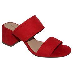 Women's Who What Wear Carolina Double Band Block Heel Slide Sandals - Red 8.5