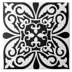 Moroccan tile - white with black background