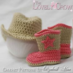 Cowboy Hat Boots Crochet Patterns. Includes patterns for Boot Scoot'n Boots and Boot Scoot'n Cowboy Hat