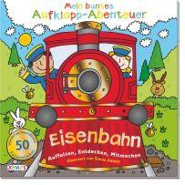 Mein buntes Aufklapp-Abenteuer: Eisenbahn. Mit der Eisenbahn kannst du die Welt entdecken und auch Wörter, Zahlen, Farben und Formen lernen. Klappe dieses wunderbare Auffaltbuch auf und spiele und lerne. Mit vielen bunten Stickern.