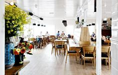 cafe, bright, clean, light wood and colors