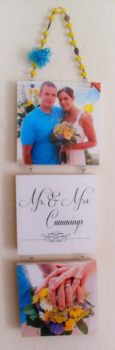 Used wood frames already attached with a hanging wire (can find at Walmart or Michaels). Painted the outside of each frame white then cut pictures to the size of the frame and glues on so it looked canvas like. Also added my own hanging look. Bought already assembled beading and stick on flowers to match our wedding theme colors. Super easy and cute finished product :