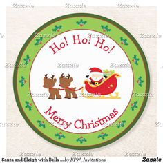 Santa and Sleigh with Bells and Holly Round Paper Coaster