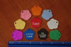 """Custom Engraved Tag Pet ID """" SMALL """" PAW PRINT  PERFECT FOR SMALL PET.  QUALITY! #MADEINUSA"""