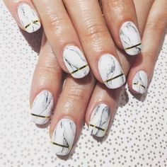 Gold Tipped White Marble Nails Vanity Project NYC