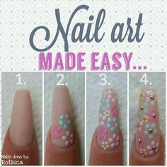 Who knew spring nail art could be this easy? Use your dotting tool to create your large flowers first. Then make your small flowers. Add a little bling in the center to finish the look!