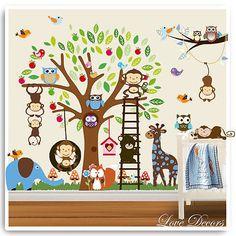 Animal Owl Wall Stickers Zoo Jungle Tree Nursery Baby Decal Decor Mural Vinyl in Wallpaper | eBay