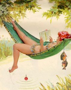 """(""""Hilda""""- First BBW Pinup -1950's)  ah, summer reading and a few fish.  https://www.facebook.com/GenerousFashions ENTER: PIN15 for 15% off your 1st order when you shop my ETSY Store.  https://www.etsy.com/shop/GenerousFashions"""