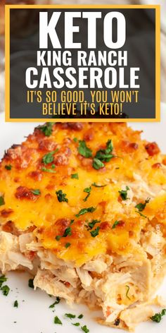 You are going to love this easy keto dinner recipe, Keto King Ranch Casserole! It's so good, you won't believe it's keto. It's a cheesy keto recipe with a delicious Tex-Mex flavor. Plus it's ready in under an hour! It uses keto tortillas and holds up well after baking, which means you can serve it for your next keto lunch too. Also great for the low carb diet and as a low carb dinner. Low Carb Meal Plan, Low Carb Dinner Recipes, Low Carb Diet, Keto Dinner, Lunch Recipes, Beef Recipes, Chicken Recipes, Healthy Recipes, King Ranch Casserole