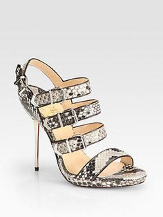 ShopStyle: Christian Louboutin Funky Snakeskin Buckle-Up Sandals