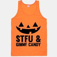 #neon #vintage #halloween #pumpkin #tank STFU & Gimme Candy   HUMAN