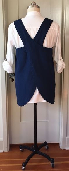 Washed Linen Curved Cross Back Apron Pinafore Smock by VirginiaWay