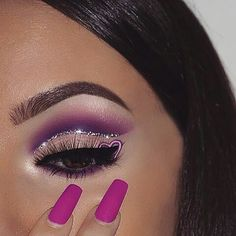 """This is so dope!! @nasiabelli Purple @benefitcosmetics @benefitcosmeticsgreece ka-brow+goofproof shade 4 @luxelarose silver glitter @aqualagooncosmetics """"splash"""" lashes @nyxcosmetics @nyxcosmetics_greece vivid brights liners(vivid petal,vivid violet) @sigmabeauty line ace liquid liner in""""legend"""" @morphebrushes Picasso palette#instarepost20"""