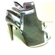 """Silver and Gray Platform Booties Small scuff on silver heel near edge. 5"""" heels with 2"""" platform. Man made materials. Minor wear on soles Jessica Simpson Shoes Ankle Boots & Booties"""