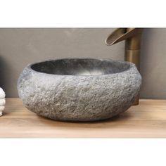 Natuursteen - Riviersteen Waskom | Toilet waskom | 35 x 30 x 15 cm