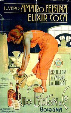 By Adolfo Hohenstein, 1900, Il Vero Amaro Felsina Elixir Coca, Imp. Dottore E. Chappuis, Bologna. (I)