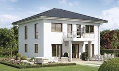 Das zweigeschossige Balance 250 mit 150 m² Wohnfläche besitzt eine Pergola aus Holz mit Glas, eine Photovoltaikanlage und einen überdachten Hauseingang. Style At Home, Pergola, Bungalow, House Plans, New Homes, Exterior, House Design, Mansions, House Styles