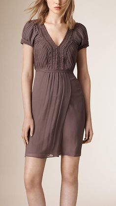 Burberry Mink Grey V-neck Silk Dress - A lightweight dress crafted from crinkled silk.  The design is embellished with pleated panels at the bodice and delicate ruffle detail, cut with raw edges.  Discover the women's dress collection at Burberry.com