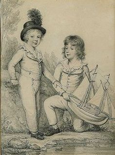 Double portrait of Frederick Seymour and Sir Horace Seymour K.C.H., holding at toy boat, by Henry Edridge.  Sold at Christies, July 2010