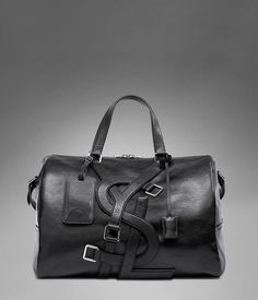 Yes even the men need a fashionable carry on - YSL Vavin Duffle Bag in Black Classic Leather