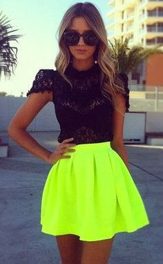Stylish, Lace Embroidered, Black Blouse with Neon, Yellow, Amazing Mini Skirt and Adorable Glasses