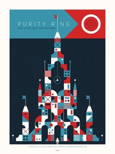 "Purity Ring had a show at Lincoln Hall in Chicago and this poster was created for that event. - 18"" x 24"" - 3 colors - Edition of 90 - Artist: Billy Bauman for the Delicious Design League We've partne"