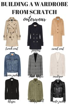 Here's how to build a wardrobe from scratch starting with your outerwear. Your capsule minimalist wardrobe is just one step away! style How to Build a Wardrobe from Scratch - MY CHIC OBSESSION Capsule Wardrobe Mom, Build A Wardrobe, Capsule Outfits, Fashion Capsule, Wardrobe Basics, New Wardrobe, Fashion Outfits, Professional Wardrobe, Work Outfits