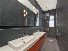 Modern bathroom design with twin basins using frameless glass - Bathroom Photo 1476152 Small Narrow Bathroom, Modern Bathroom Design, Bathroom Designs, Bathroom Ideas, Modern Bathrooms, Bathroom Inspiration, Ensuite Bathrooms, Glass Bathroom, Compact Bathroom