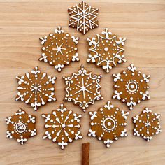 CosmoCookie: Iced Gingerbread Snowflake Cookies and the U. Botanical Gardens CosmoCookie: Iced Gingerbread Snowflake Cookies and the U. Christmas Gingerbread, Christmas Sweets, Christmas Cooking, Noel Christmas, Christmas Goodies, Gingerbread Houses, Gingerbread Cake, Italian Christmas, Christmas Snowflakes