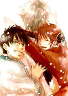 Sakata Gintoki, Kagura & Shimura Shinpachi | Gintama | Credits to the owner of the picture, I don't own the picture. // Finally having some time to watch the Gintama the moive 2 (Gintama the movie the final chapter be forever yorozuya). All I can say after finishing the movie: I'll be missing Gintama, if they aren't doing another season of the anime.