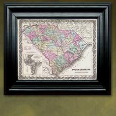 Antique Map of the State of South Carolina ca 1855 by PortofPrints