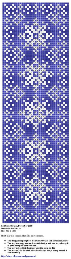 Snowflake bookmark. Free sewing pattern graph for cross stitch or plastic canvas.:
