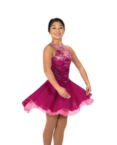 New Jerrys Competition Skating Dress 125 Rythm Roses Pink Lace Made on Order #Jerrys