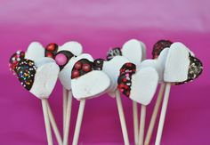 chocolate coated heart marshmallow pops