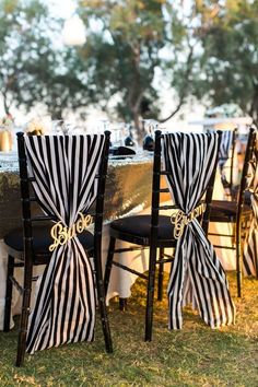 Black And White Wedding Chair / http://www.himisspuff.com/black-and-white-sassy-stripes-wedding-ideas/ #WeddingIdeasBlackAndWhite
