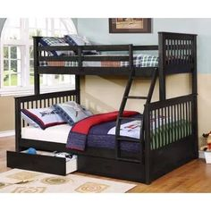Wildon Home® Paloma Mission Twin Over Full Bunk Bed with Drawers Bed Frame Color: Dark Charcoal Stain Bunk Beds With Drawers, Bunk Beds With Storage, Wood Bunk Beds, Modern Bunk Beds, Kids Bunk Beds, Bed Storage, Loft Beds, Extra Storage, Twin Full Bunk Bed