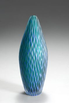 Philip Baldwin and Monica Guggisberg. Vase 'inciso'. Made by Venini in 2000. Overlaid glass, clear, green and blue, score cut.