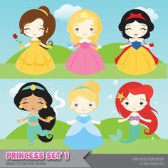 Princesa Set Clipart - descarga inmediata - archivos PNG.