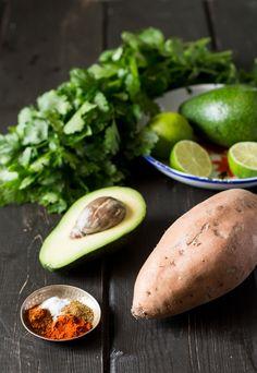 Crispy sweet potato fries with avocado-coriander dip - Lazy Cat Kitchen