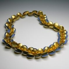 jacqueline ryan: ocean; clam collier -gold and enamel