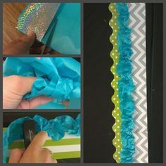 36 Clever DIY Ways To Decorate Your Classroom - Your Life: Embellished — Easy DIY Bulletin Board Ribbon Boarder. Bulletin Board Borders, Classroom Bulletin Boards, Classroom Setting, Classroom Door, Classroom Setup, Classroom Design, Classroom Displays, Kindergarten Classroom, Classroom Organization