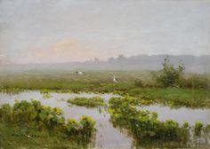 Wiktor KORECKI ,Rozlewisko z kaczeńcami , olej, tektura, 25 x 35 cm