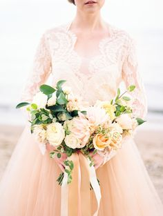 Read More on SMP: http://www.stylemepretty.com/2016/03/05/bouquet-breakdown-ethereal-lakeside-inspiration-filled-with-seashells/