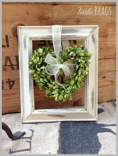 heart-shaped boxwood wreath with ribbon in old empty frame Picture Frame Crafts, Old Picture Frames, Picture Frame Wreath, Decorated Picture Frames, Painted Frames, Valentine Decorations, Christmas Decorations, Cuadros Diy, Old Crates