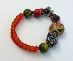 Beaded ceramic Czech glass bracelet Frog pond by WinterBirdStudio
