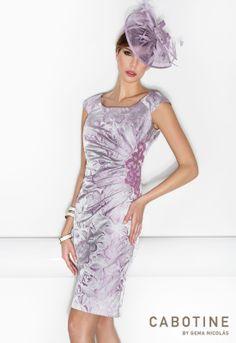 DONNA 6189  Conjunto vestido de fiesta en color malva
