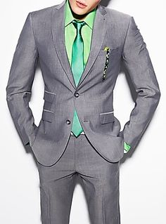 Suit up in green and metal grey men! what-men-should-wear