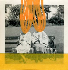 Orange Art, Vintage Photo Collage About A Couple On The Bench - Washi Tape and Posca Pens Decoration