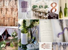 broze, emerald, and lavender wedding inspiration with cute wine bottle ideas